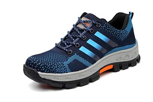 Ansel-UK Hombre Mujer Zapatillas de Seguridad con Punta de Acero Antideslizante TranspirableS3 Zapatos de Trabajo Comodas Calzado de Trabajo Deportivos Botas de Protección Industria Construcción
