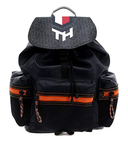 Tommy Hilfiger Hybrid Mix Flap Backpack Navy Monogram
