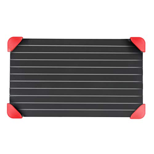 Rapid Defrosting Tray with Silicone Rubber Legs,8x14 Inch-3 mm Thickness Thawing Plate Healthiest, Safest Easiest Way To Defrost Frozen Meat, Bacon, Fish, Chicken Quickly