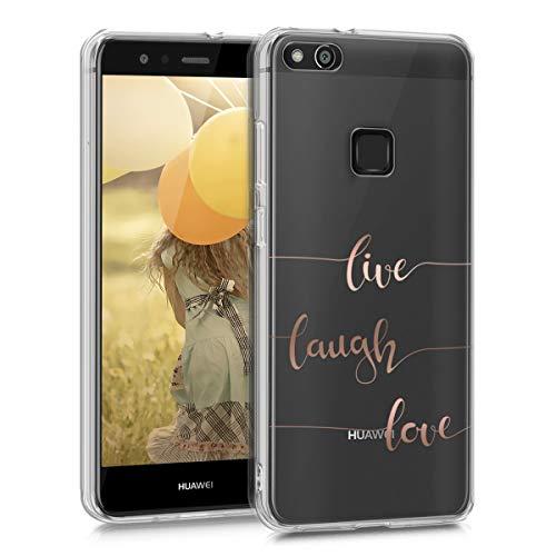 kwmobile Funda Compatible con Huawei P10 Lite - Carcasa de TPU Live, Laugh, Love en Oro Rosa/Transparente