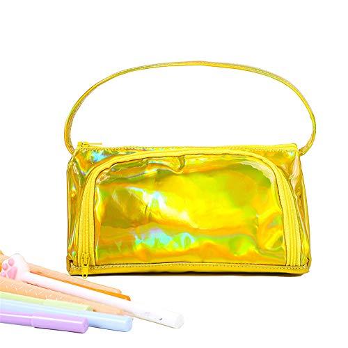 Vovoo 鉛筆ケース ペンケース 多機能レーザーレザー ペンポーチ大容量女子学生文房具バッグ 大容量収納袋 女性たち化粧品袋 (ゴールド)
