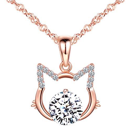Unendlich U Damen Mädchen kette Halskette 925 Sterling Silber Kette mit Anhänger Zirkonia Leere Katze Anhänger,Rosegold