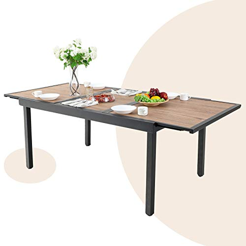 Outdoor Expandable Rectangle Table Patio Dining Table with Wood-Like Surface Top for Deck