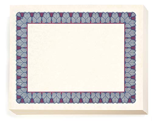Price comparison product image Burgundy and Blue Oxford Standard Certificates,  8 1 / 2 inch x 11 inch,  28lb Parchment Stock,  100 Count