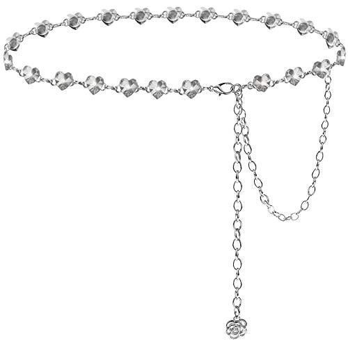 Suyi Heart Silver Chain Cinturones para Mujer Cadena De Cintura con Diamantes De Imitación para Vestido Tallas Grandes 135cm Plata