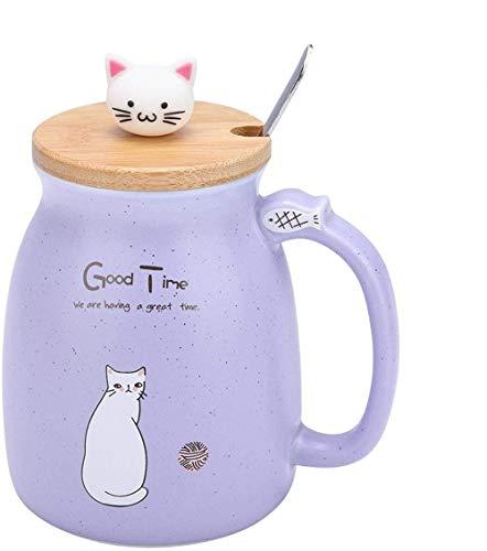 Taza de cerámica para regalo de taza de café para gatos de 12 oz, taza de leche con agua y café con cuchara y tapa de madera (420 ml)