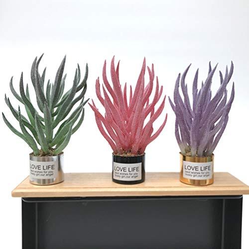 Tomaibaby Mini-Grünpflanzen Kunstpflanzen Miniatur-Grüngras für Den Puppenhausgarten Miniatur-Landschaftsdekor (3 Stück Grün Und Pink) - 2