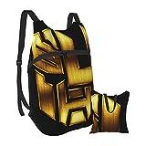 KANSS Películas Bumblebee Bapack, gran Caity con doble cierre de cremallera, reutilizable, plegable, portátil, para hacer ejercicio, compras, viajes escolares