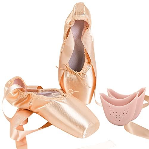 Dynadans - Zapatillas de ballet de punta para danza profesionales con cinta de satén para niñas y mujeres, Rosa (rosa), 42 EU