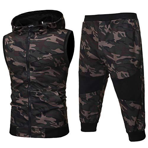 Yowablo Herren Sportbekleidung Trainingsanzug Set Summer Camouflage Sweatshirt Zipper Top Pants Sets Sportanzug (M,Armeegrün)