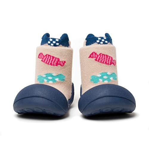 [Attipas] アティパス ベビーシューズュ [キャンディー] 洗濯機 丸洗いOK 靴下セット かわいいベビーシューズ 滑り止め ラバー 出産祝い プレゼント あんよの練習 保育園靴 ソックスシューズ プレシューズ 室内履き 12.5 ネイビー