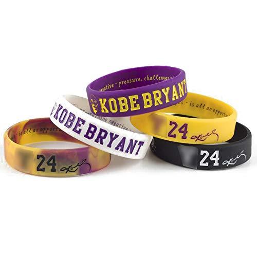 Lorh's store NBA Basket Kobe Bryant Ritratto Braccialetto Numero 24 Silicone Parola Inspirational Sport Wristband 5 Pezzi