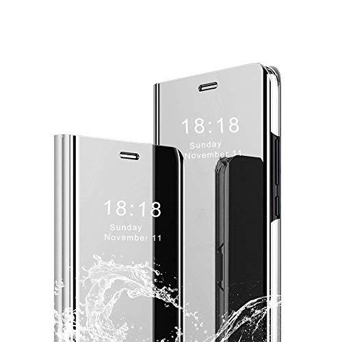 Preisvergleich Produktbild Yichxu Huawei P30 Lite Hülle,  Spiegel Clear View Standing Handyhülle für Huawei P30 Lite,  Mirror Makeup Plating Schutzhülle PU Leder Flip Tasche Anti-Scratch Case Cover für Huawei P30 Lite,  Silber