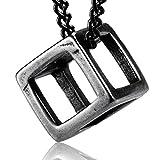 【Ludus Felix】ネックレス メンズ キュービック 立方体 サージカル ステンレス ジュエリーボックス付き ペンダント シルバー メンズネックレス(ブラック)
