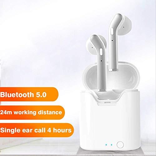 Draadloze oordopjes Bluetooth 5.0 Hoofdtelefoon met【24 uur opladen Case】 3D Stereo Hoofdtelefoon in-Ear Headset Ingebouwde microfoon, Pop-ups Auto koppelen Hoofdtelefoon voor Apple/AirPods/iPhone/Samsung/Android, White-