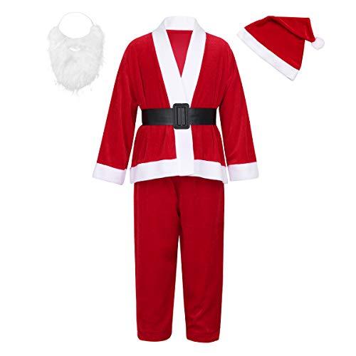 Agoky Kinder Kostüm Weihnachtsmann 5 Teile Set Jacke und Hose mit Mütze Bart Gürtel Mädchen Jungen Weinachten Outfits Verkleidung Rot 122-134/7-9 Jahre