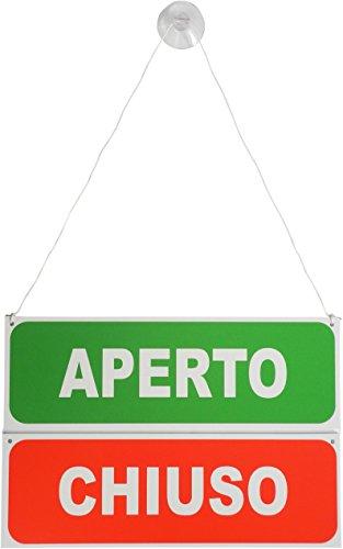 Doble cara para colgar abierto/cerrado puerta señal–italiano