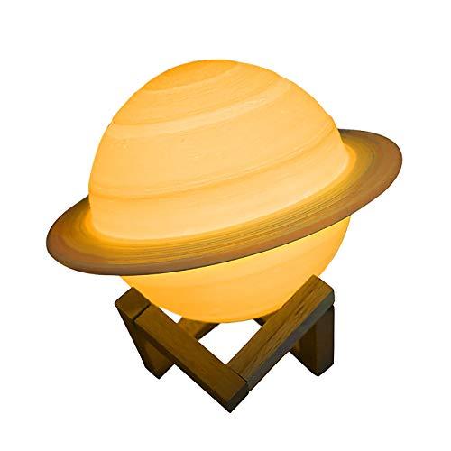 Saturn Lampe, Peahog 16 Farben LED 3D-Druck Dekor Sternlampe, USB Wiederaufladbare Fernbedienung & Touch-Steuerung, Kinderzimmer Nachtlicht für Kinder Baby Freund Liebhaber Geburtstag Raumdekoration