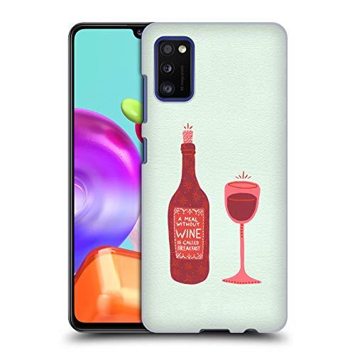 Head Case Designs Ufficiale Cat Coquillette Bottiglia E Bicchiere Vino Cover Dura per Parte Posteriore Compatibile con Samsung Galaxy A41 (2020)