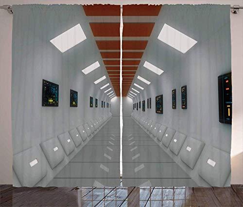 MZCYL Cortina Opaco Cortinas Ruido Reduccion Térmicas Aislantes Ojete Blackout Cortinas Tela para Cortinas 229x274cm Corredor futurista de la estación Espacial OVNI con Laboratorio de Alta tecnología