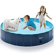 #LightningDeal RYNX Foldable Dog Pet Bath Pool Portable Dog Swimming Pool Bathing Tub Hard Plastic Kiddie Pool for Kids Dogs and Cats