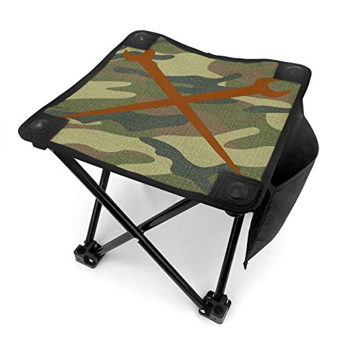 Rong-C Camping Stool, Ironworker Crossed Tools Fishing Travel Outdoor Folding Stool, Portable Stool for Camping Walking Hunting Hiking Picnic Garden BBQ