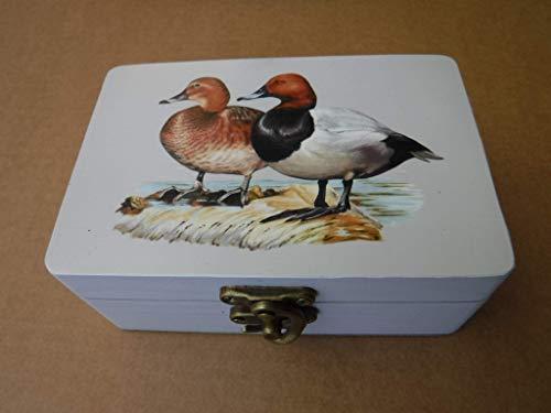 Caja artesana decorada'Collera de Boixos', Porrón europeo (Aythya ferina), Common pochard