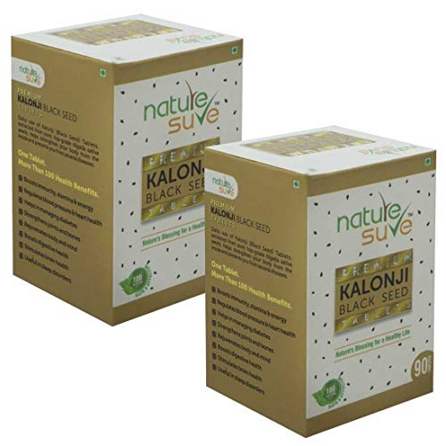 Nature Sure™ Premium Kalonji Tablets for Men and Women (extracted from Black Seed/ Nigella sativa seeds) – 2 Packs (90 Tablets Each)