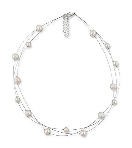 Rivelle Damen Süßwasser Perlenkette creme Kette echte Perlen Collier Halskette Necklace Schmucketui