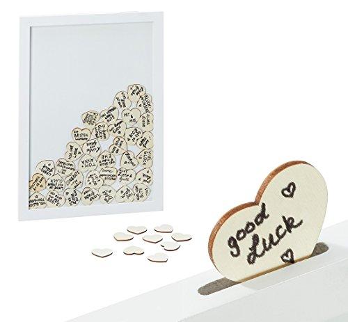 Geschenkestadl Bilderrahmen Gästebuch Weiß Hochzeit 30 x 42 cm mit 72 Herzen