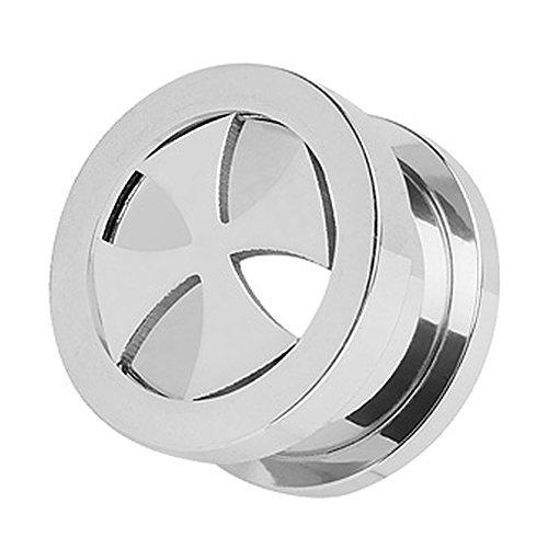 Piercingfaktor Flesh Tunnel Ohr Piercing Plug Ohrpiercing Schraub Edelstahl Eisernes Kreuz Silber 16mm