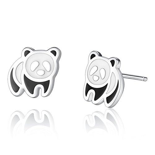 Boucles d'Oreilles Panda Ours Mignon Boucles Oreilles Clous d'Animal Bijoux Hypoallergénique en Argent Fin 925 Pour les Enfants Filles- VIKI LYNN