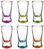 PLATINUX - Juego de 6vasos de chupito, 2,5cl, vasos de chupito, vasos de vodka de cristal, 6posavasos