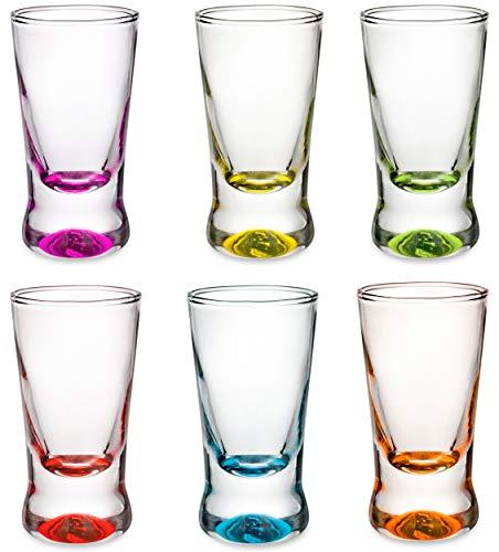 PLATINUX - Juego de 6 vasos de chupito (2,5 cl), multicolor