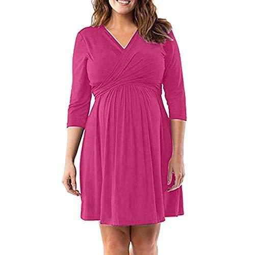 Femmes De Grossesse Grossesse Grossesse Robe Robe Col Vêtements V De Maternité Robe De Maternité (Color : Hot Pink, Size : M)