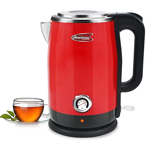 Maxi-Matic by Elite EKT-1780R Double Wall Insulated Cool Touch Electric Water Tea Kettle with BPA Free Stainless Steel Interior and Auto Shut-Off, 1.7L, Red