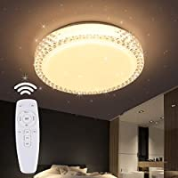LED シーリングライト 星空効果 35W 無段階調光調色タイプ ~8畳 常夜灯 モード メモリ機能 照明器具 電球色 昼光色 2年保証 PSE認証済 (40CM 35W 調光調色 リモコン付き)