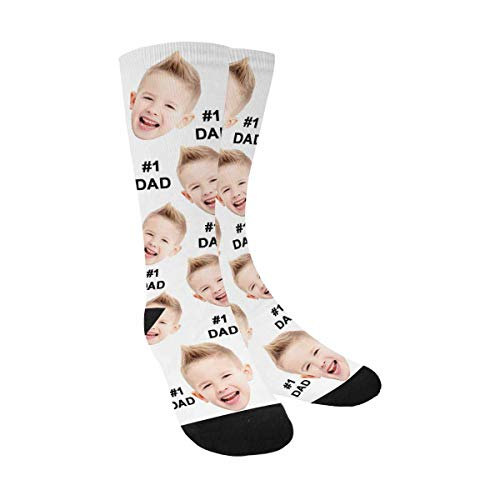 Custom Photo Pet Face Socks, Socks for Father's Day Daddy #1 Best Dad Ever Crew Socks for Men White
