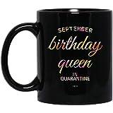 N\A Reina Taza de cuarentena - cumpleaños Virgo Reina Taza Negra - cumpleaños septiembre - Afro Queen PNG - Hermosa Reina Negra Taza de café Negro