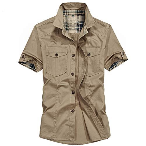 FRAUIT Camicia Uomo Manica Corta Militare Camicie Uomini Maniche Corte con Taschino Magliette Coreana Ragazzo T Shirt Strane Estive Camicia Slim Fit Cotone Maglia