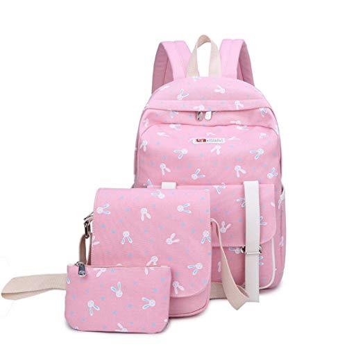 3 piezas / juego de bolsas escolares de lona para adolescentes y niñas, mochila escolar, mochila escolar para niños, rosa claro (Rosa) - RS190812