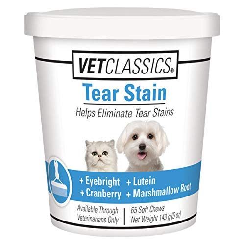 Vet Classics Tear Stain for Dogs & Cats  Helps Eliminate Tear Stains from Eyes & Prevents New Stains with Cranberry  Lutein  Eyebright  Oregon Grape Root  65 Soft Chews