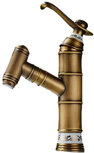 YLLN Grifo de Lavabo de Hotel de baño de Cocina de bambú Vintage, Mezclador de Lavabo con Boquilla abatible, Grifo Mezclador de latón Antiguo de una Sola Palanca (Bronce Cepillado)