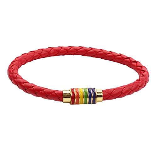 WanBeauty Pulsera de cadena, Moda Unisex Trenzado Cuero Cuerda Arco Iris Hebilla Magnética Pulsera Joyería - Rojo Dorado *