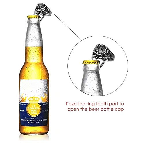 Nisake Skull Rings Apribottiglie Ghost Punk Acciaio Inossidabile Mens Ring Apri di Bottiglia di Birra per Gli Uomini Anello di Barretta Apribottiglie