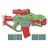Nerf Lanzador de Dardos motorizado DinoSquad Rex-Rampage, Clip de 10 Dardos, 20 Dardos, Porta-Dardos de 10 Dardos, diseño de dinosario T-Rex