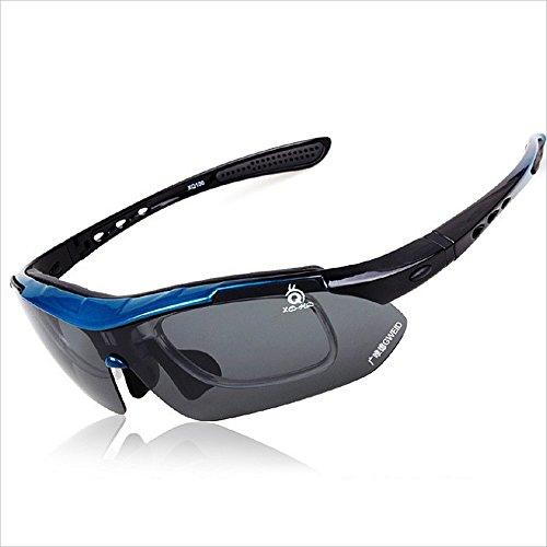 Gafas de moda Gafas de sol deportivas polarizadas PC 5 Unids Lentes intercambiables Durable antideslizante Para Hombres Mujeres Pesca al aire libre Occhiali (Color : Blue)