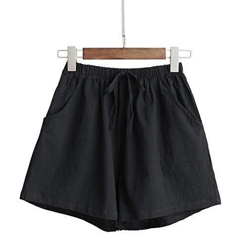 YFDYG Short Femme,Black Solid Color Shorts Ladies Summer Cotton Linen Shorts Girl Wide Leg Casual Trousers Plus Size Loose Elastic Waist Pockets Pants,XL