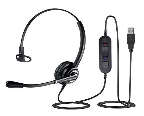 VoicePro 10 Mono USB Office Headset mit Rauschunterdrückungsmikrofon und Inline Kopfhörer Anrufsteuerung - Funktioniert mit Skype, Dragon, Teams, Zoom, Cisco Jabber, Avaya X und mehr
