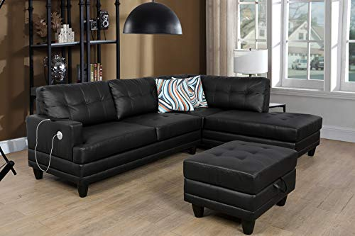 LifeStyle Furniture Sectional Sofa Chaise with Massager and USB Charging, ContemporaryLeather Upholstered L-Shape Couch with Storage Ottoman & 2 Throw Pillows, Right Hand Facing, Black